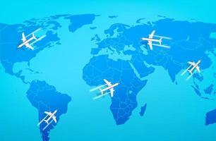 aerei moderni che volano sopra la mappa del mondo. illustrazione vettoriale vista dall'alto