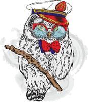 divertente hipster gufo con occhiali e berretto da capitano. vettore