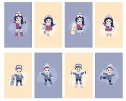 carte per bambini, bambini inverno. un set di carte con ragazze e ragazzi carini che praticano sport invernali. sci, pattini, snowboard, in abbigliamento invernale, in diverse pose. vettore
