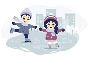 bambini inverno. un ragazzo e una ragazza stanno pattinando su una pista di pattinaggio in città su uno sfondo blu con un paesaggio urbano, case e alberi. vettore