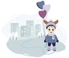 bambini inverno. un ragazzo con corna di cervo e palloncini sulla città si trova su uno sfondo con case, alberi e fiocchi di neve. vettore