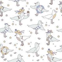 modelli senza soluzione di continuità con gli uccelli marini. simpatici gabbiani divertenti in abbigliamento da spiaggia su uno sfondo bianco con conchiglie e stelle marine. vettore