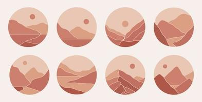 contemporaneo moderno minimalista astratto paesaggi di montagna illustrazioni estetiche. copertine in evidenza bohémien. raccolta di stampe artistiche della metà del secolo per storie vettore
