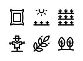 semplice set di icone di linea del vettore relative all'agricoltura. contiene icone come sacco, campi soleggiati, raccolto, spaventapasseri e altro ancora.