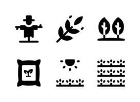 semplice set di icone solide vettoriali relative all'agricoltura. contiene icone come spaventapasseri, sacchi, campi soleggiati, raccolto e altro ancora.
