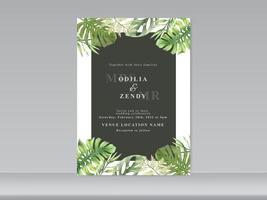 carte invito a nozze con disegno floreale verde vettore