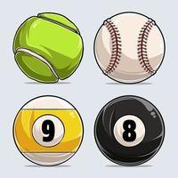 collezione di palline sportive, pallina da baseball, pallina da tennis, pallina da biliardo 8 e 9 palline vettore