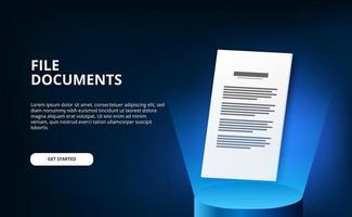 Documenti di file 3d carta con podio cilindro 3d con tecnologia a luce blu vettore