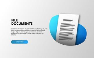 Pagina di destinazione del documento di file 3D vettore