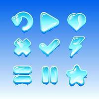 insieme della raccolta dei segni dell'icona del ghiaccio del congelamento dell'interfaccia utente del gioco per l'illustrazione di vettore degli elementi dell'asset della gui