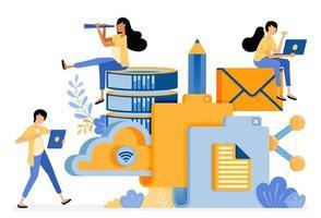 banner design vettoriale della tecnologia di archiviazione delle cartelle per database cloud e attività sui social media. il concetto di illustrazione può essere utilizzato per pagina di destinazione, modello, interfaccia utente, web, app mobile, poster, banner, sito Web