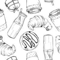 Reticolo senza giunte di vettore disegnato a mano bella con caffè, ciambella, latte, biscotti e croissant.