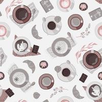 Vector seamless pattern con tazze di caffè.