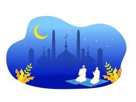 preghiera musulmana religiosa in abiti tradizionali vettore
