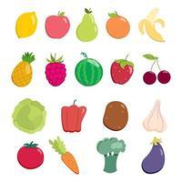 set di frutta e verdura. raccolta di elementi di disegno vettoriale. vettore