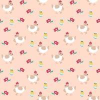 modello primavera senza soluzione di continuità con gallina, pollo e fiori. illustrazione vettoriale su uno sfondo rosa. trama infinita per pasqua