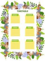 modello di orario scolastico per bambini con animali selvatici. elefante, leone, rinoceronte, ippopotamo, giraffa, giaguaro, scimmia, coccodrillo e tigre. fumetto illustrazione vettoriale