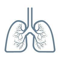 segno dell'icona di polmoni isolato su priorità bassa bianca vettore