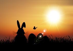 Il coniglietto di pasqua si è seduto in erba contro un cielo del tramonto vettore