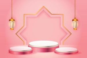Esposizione del prodotto 3d islamica a tema podio rosa e bianco con lanterna d'oro per il ramadan vettore