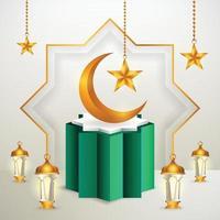 Prodotto 3d display islamico a tema podio verde e bianco con falce di luna, lanterna e stella per il ramadan vettore