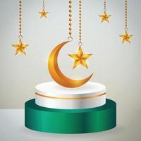 Prodotto 3d display islamico a tema podio verde e bianco con falce di luna d'oro e stella per il ramadan vettore