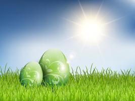 Uova di Pasqua in erba vettore