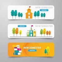 banner moderno astratto, modello di progettazione del corso online di e-learning scolastico vettore