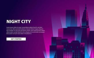 illustrazione di notte della città di colore al neon bagliore banner pagina di destinazione con edificio grattacielo con sfondo scuro vettore