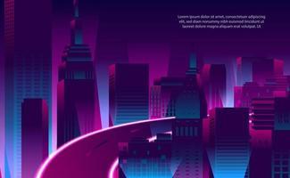 illustrazione paesaggio urbano futuristico di colore al neon magenta viola vettore