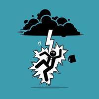 uomo d'affari colpito da un fulmine o un tuono dalla nuvola scura vettore