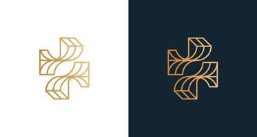 disegno astratto lettera f logo con set di forma a croce vettore