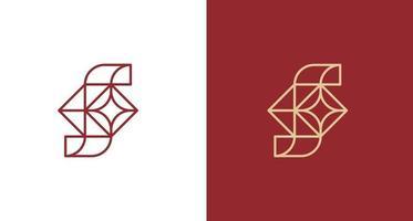 lettera astratta lettera f foderata logo con un set di stelle vettore