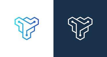 logo moderno e astratto lettera y con set di elementi di punti di connessione vettore