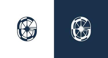 astratto elegante lettera g stella logo ione emblema circolare forma impostata vettore