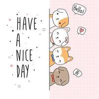 simpatico cane cucciolo amico saluto cartone animato doodle card vettore