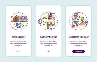 stili di apprendimento onboarding schermata della pagina dell'app mobile con concetti vettore