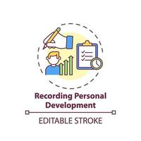 icona del concetto di sviluppo personale di registrazione vettore