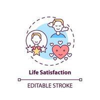 icona del concetto di soddisfazione di vita vettore