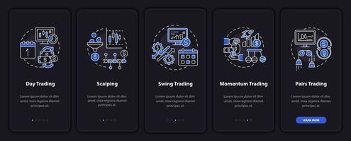 stili di trading onboarding schermata della pagina dell'app mobile con concetti vettore