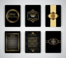 Brochure in oro e nero e modelli di menu vettore