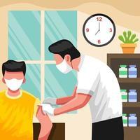 un uomo viene vaccinato nella stanza vettore