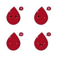 illustrazione del concetto di gruppo sanguigno. carattere sanitario in stile giapponese kawaii. vettore