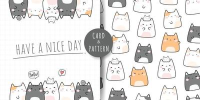 carta di doodle di cartone animato carino gattino paffuto gatto e fascio senza cuciture vettore