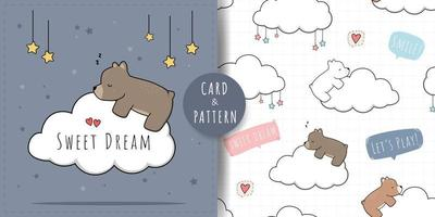 simpatico orsacchiotto che dorme e abbraccia la carta di doodle del fumetto della nuvola e il modello senza cuciture vettore