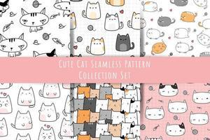 set di simpatico gatto gattino cartone animato doodle seamless pattern bundle vettore