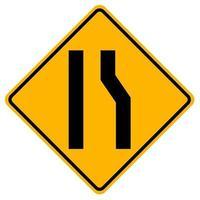 segnali di pericolo strada si restringe sul lato destro su sfondo bianco vettore