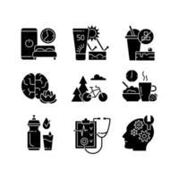 abitudini sane sviluppo icone glifo nero impostato su uno spazio bianco vettore