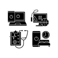 stile di vita sano nero glifo icone impostate su uno spazio bianco vettore