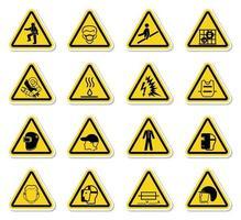 avvertimento pericolo simboli etichette segno isolato su sfondo bianco, illustrazione vettoriale